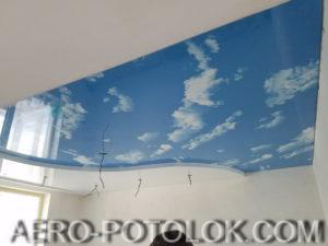 двухуровневый натяжной потолок фото пример 2